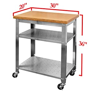 Amazon Com Seville Classics Stainless Steel Kitchen Cart With Bamboo Top Home Kitchen