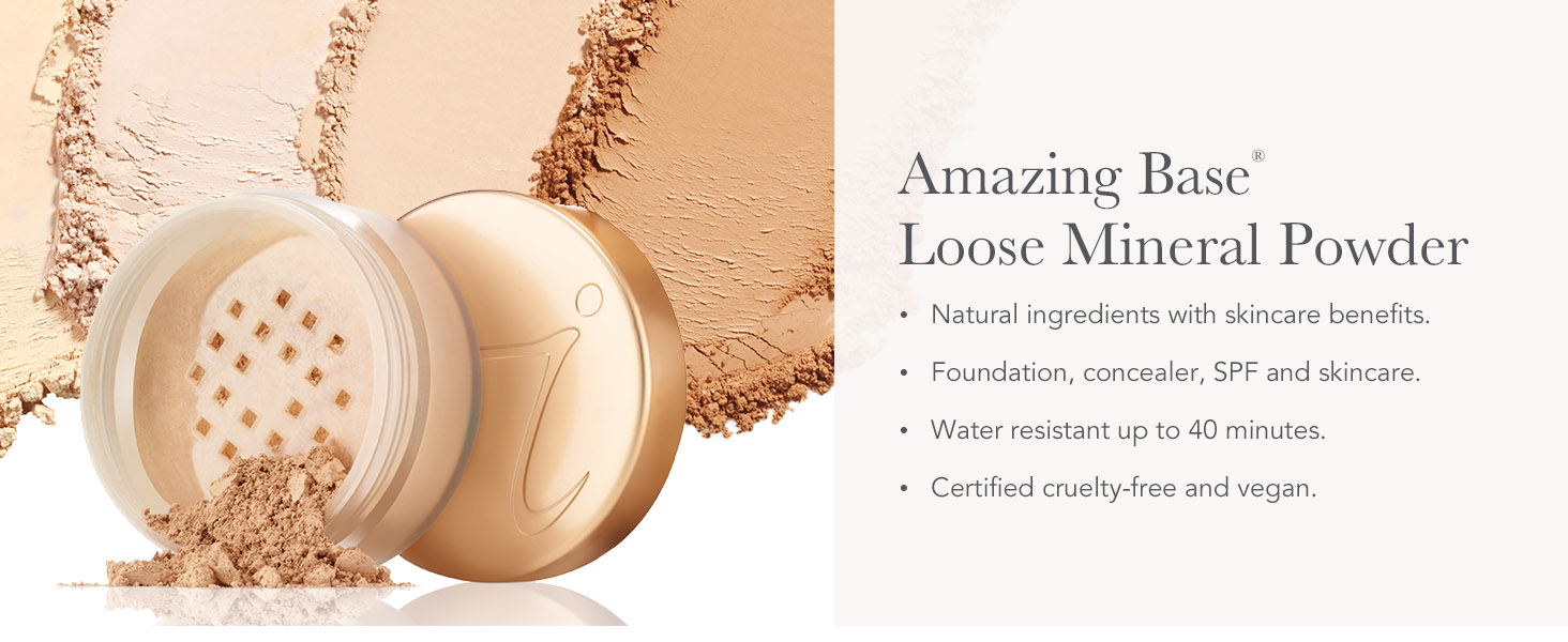 jane iredale amazing base loose mineral powder foundation light coverage spf clean mineral makeup