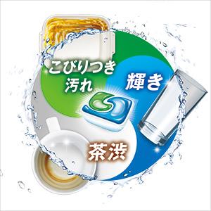 食洗器で落ちにくい3大汚れをすっきりと落とし、洗い直しの手間をなくします