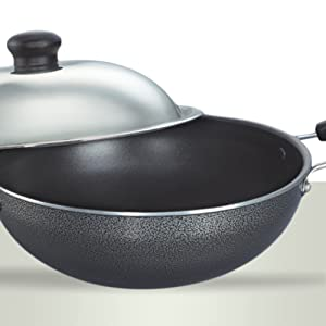Prestige Non-Stick Round Base Kadai with Lid