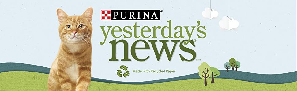 Purina Yesterdays News brand. Made with recycled paper
