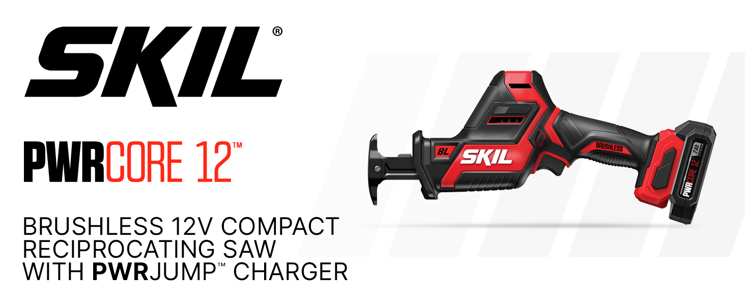 SKIL PWRCore 12 cordless reciprocating saw on white