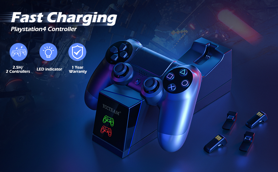 PS4 Controller Charger, YCCTEAM Dual Fast Controller Charging Station for Sony PS4,PS4 Slim,PS4 Pro with 4 Micro USB Connectors & LED Charging ...