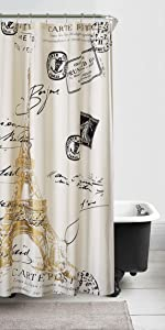 Paris Gold Shower Curtain Comforter Set Stick Lamp Eiffel Tower Printed 13 Piece