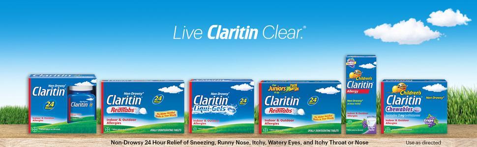 Clariton allergy relief pills medicine tablets claritan benadryl zyrtec xyzal allegra non-drowsy