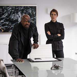 Samuel L. Jackson (Nick Fury) and Cobie Smulders (Maria Hill) in Spider-Man: Far From Home