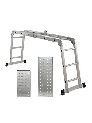 Relaxdays Escalera Multifunción Articulada con Plataformas y 4x3 Peldaños, Aluminio-Acero-Plástico, 360x80 cm, Plateado: Amazon.es: Hogar