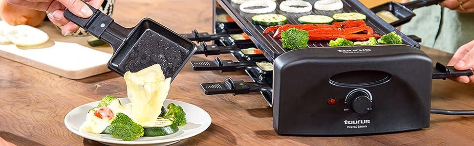 Taurus Arizona Raclette, placa reversible grill o lisa, 42 x 21 cm, antiadherente, 8 mini sartenes de distintos colores, producto libre de PFOA y BPA, ...