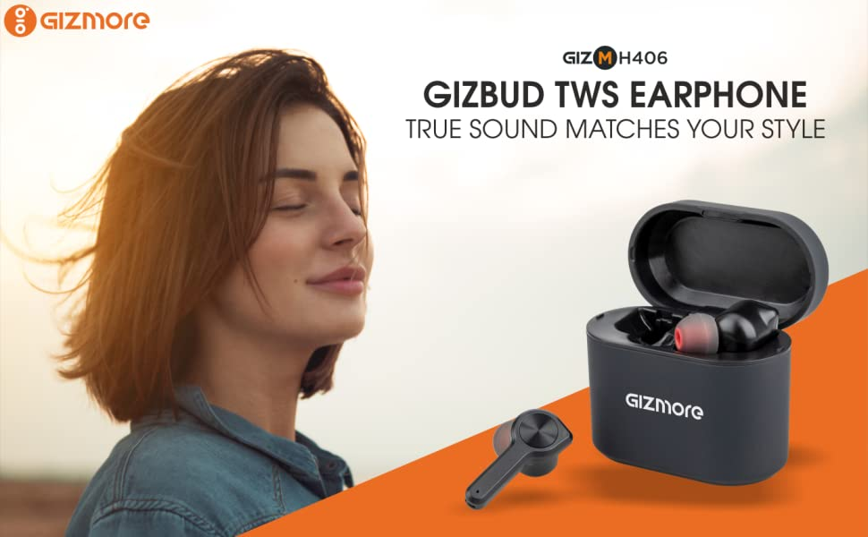 Gizmore Gizbud MH406 Mini Sports TWS Earbuds with Charging Case (Black)