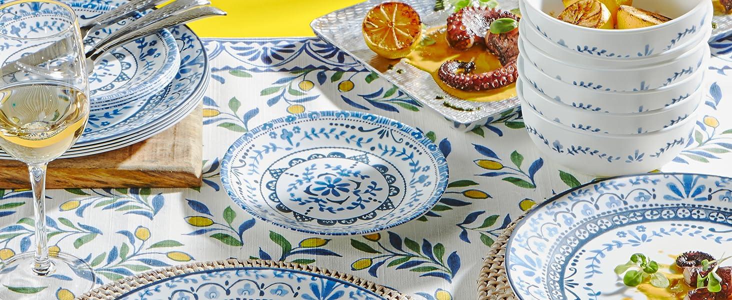Corelle Plates, chip resistant, dinnerware, vitrielle glass plates, tempered glass