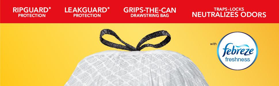 Trash Bags; Garbage Bags; Kitchen Trash Bags; 13 Gallon Trash Bags; Glad Trash Bags; Tall Kitchen
