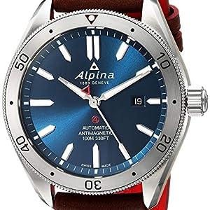 Alpina Alpiner 4 Blue Dial Swiss Quartz Sport Watch, Brown Leather Band, Stainless Steel Case Bezel