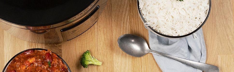 Cuiseur à riz Tristar RK-6138 vu du dessus avec chili con carne