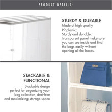 HOUZE - Stackable Luxury Bag See Thru Storage : Sturdy & Durable