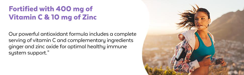 vitamin c 400mg 10mg zinc oxide elderberry immune system support