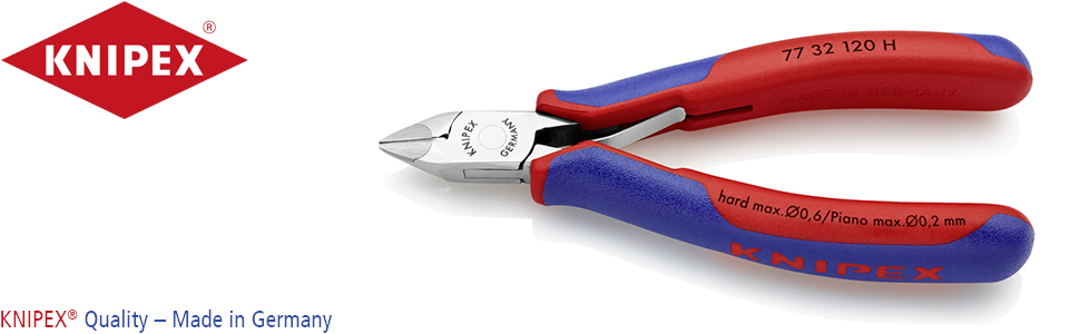 KNIPEX 77 32 120 H Alicate de corte diagonal para electrónica con plaquitas de carburo en los filos con fundas en dos componentes 120 mm: Amazon.es: Bricolaje y herramientas