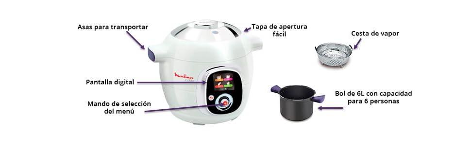 Moulinex Cookeo Connect-Robot de Cocina (Capacidad 6 litros, conectividad con Tablet y Smartphone, tecnología Alta presión), 1200 W, Cerámico, Negro: Amazon.es: Hogar