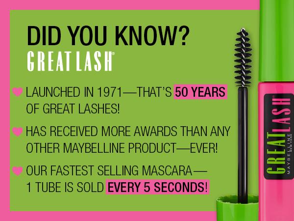 great lash, mascara, eyes, long lasting, curl, lash-doubling formula, conditions, thick lashes