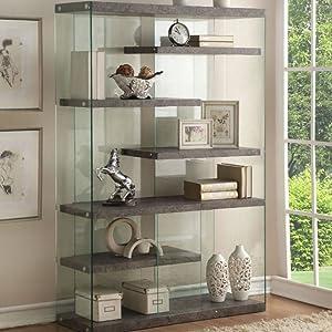 Faux Concrete & Clear Glass Bookshelf