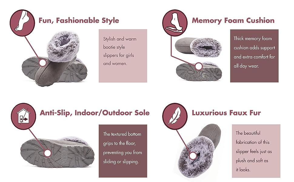 memory foam faux fur plush lining house slippers womens