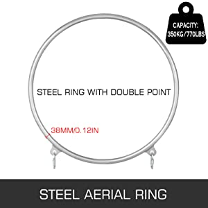 VEVOR 95cm Professional Aerial Hoops Equipment Stainless Strength Tested 770lbs Capacity Lyra Hoop Double Aerial Rings Set