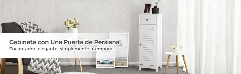 VASAGLE de Madera Armario para baño Armario de pie Armario de almacenaje Rinconera 1 Cajón 1 Armario de almacenaje Puerta de persiana Blanco BBC43WT