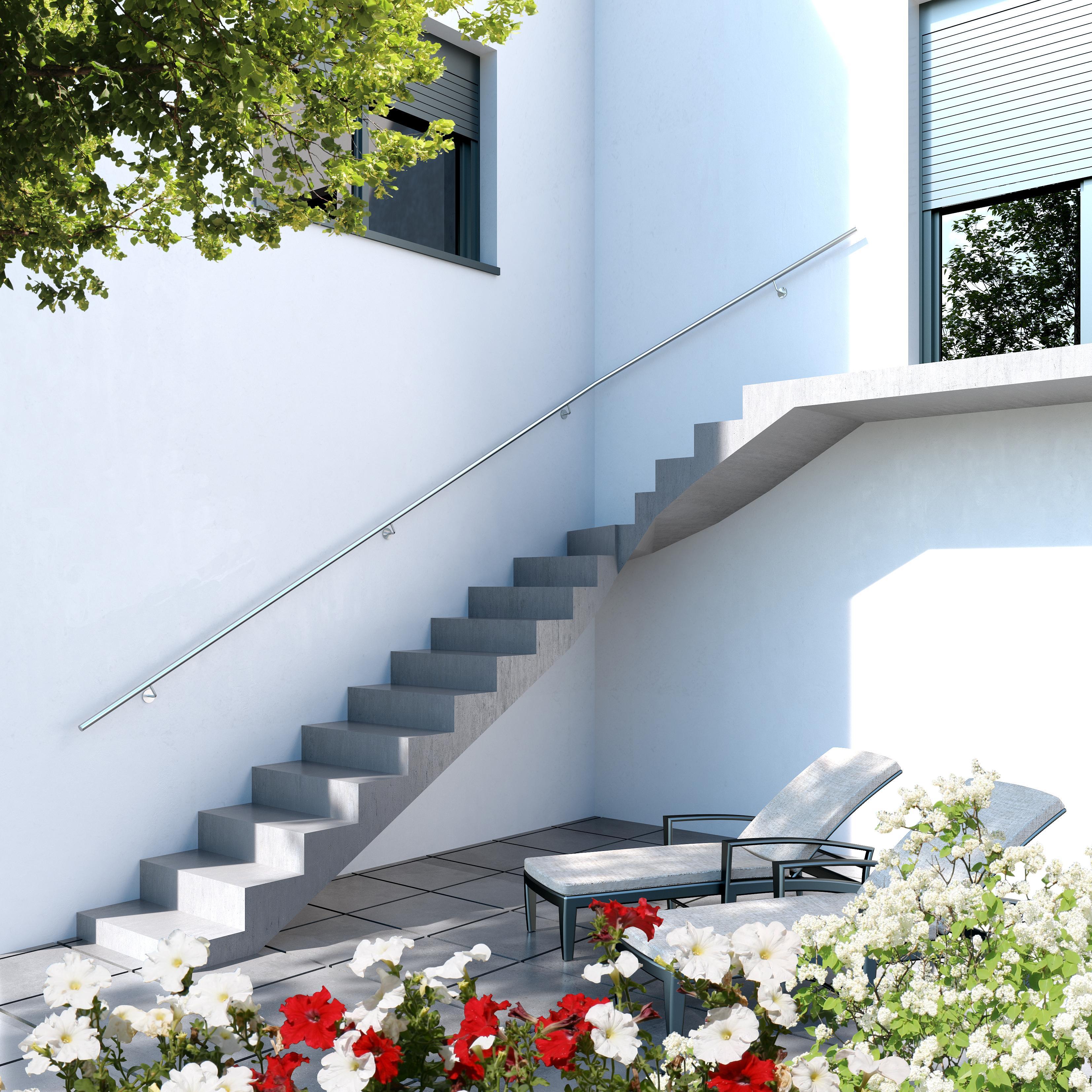 edelstahl handlauf v2a 42 4mm 240k geschliffen wandhandlauf geteilt mit gerader endkappe 3800 mm. Black Bedroom Furniture Sets. Home Design Ideas