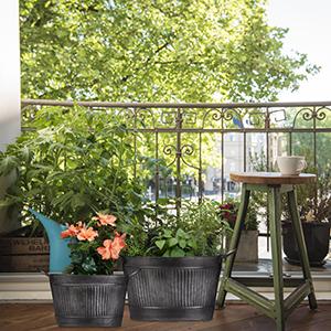 Relaxdays, Gris Oscuro, Jardineras Metal Ovaladas de Estilo Vintage, 3 Unidades, Hierro Galvanizado, Varios Tamaños: Amazon.es: Jardín