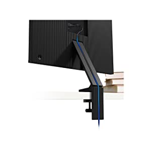 Samsung Space Monitor stand conceals the power/HDMI Y-cable