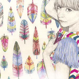 drawing of girl with feather background
