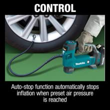 control auto stop function automatically stops infliation when preset air pressure is reached