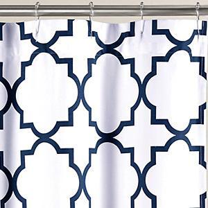 Quatrefoil Shower Curtain Navy