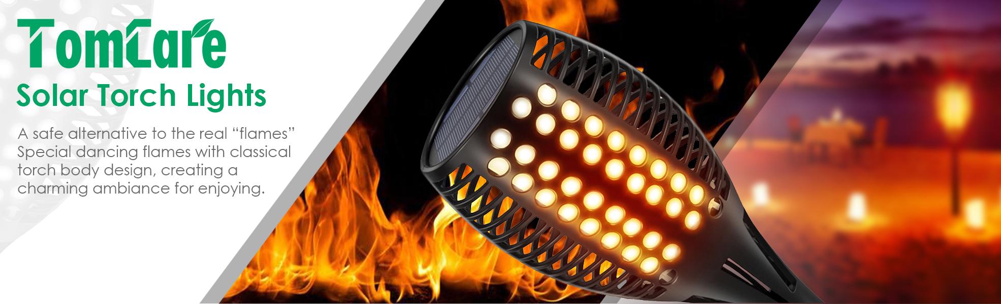 Tomcare Solar Lights Upgraded Waterproof Flickering