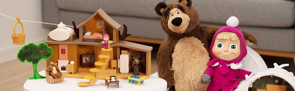 Simba Masha Et Michka Maison De Michka 2 Etages Fonctions Sonores 2 Figurines Nombreux Accessoires Inclus 109301032web Amazon Fr Jeux Et Jouets