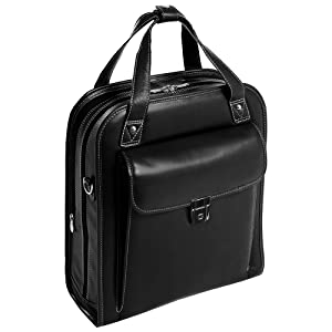 """Black 15"""" Leather Vertical Patented Detachable -Wheeled Laptop Briefcase front"""