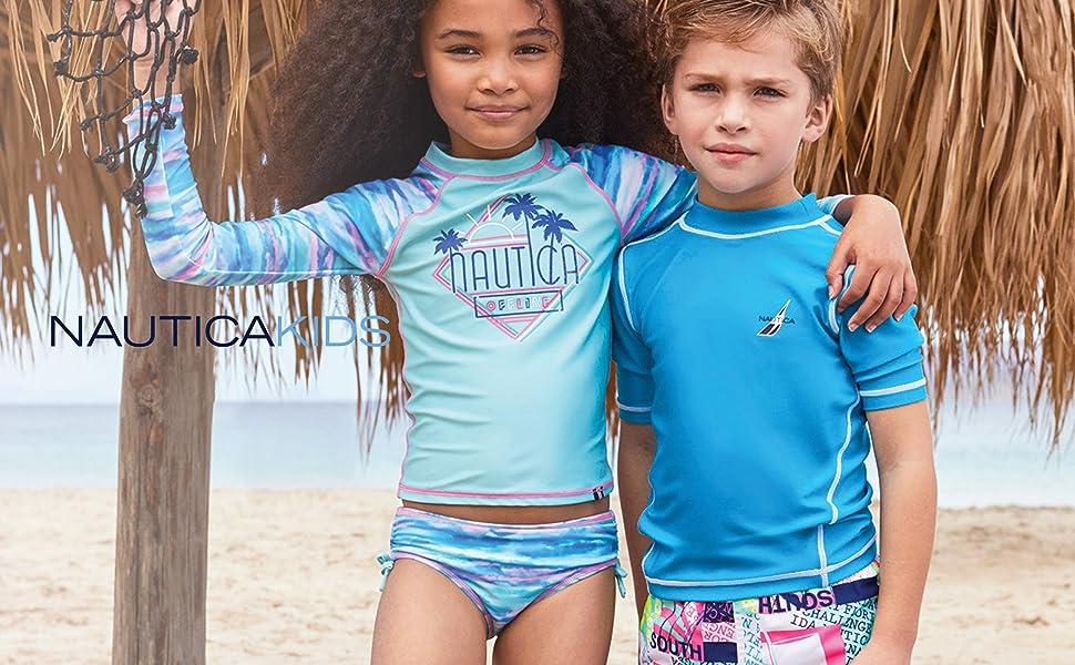 Nautica girls swim, girl swimsuit, rashguard set