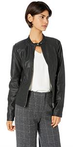 biker faux leather moto jacket