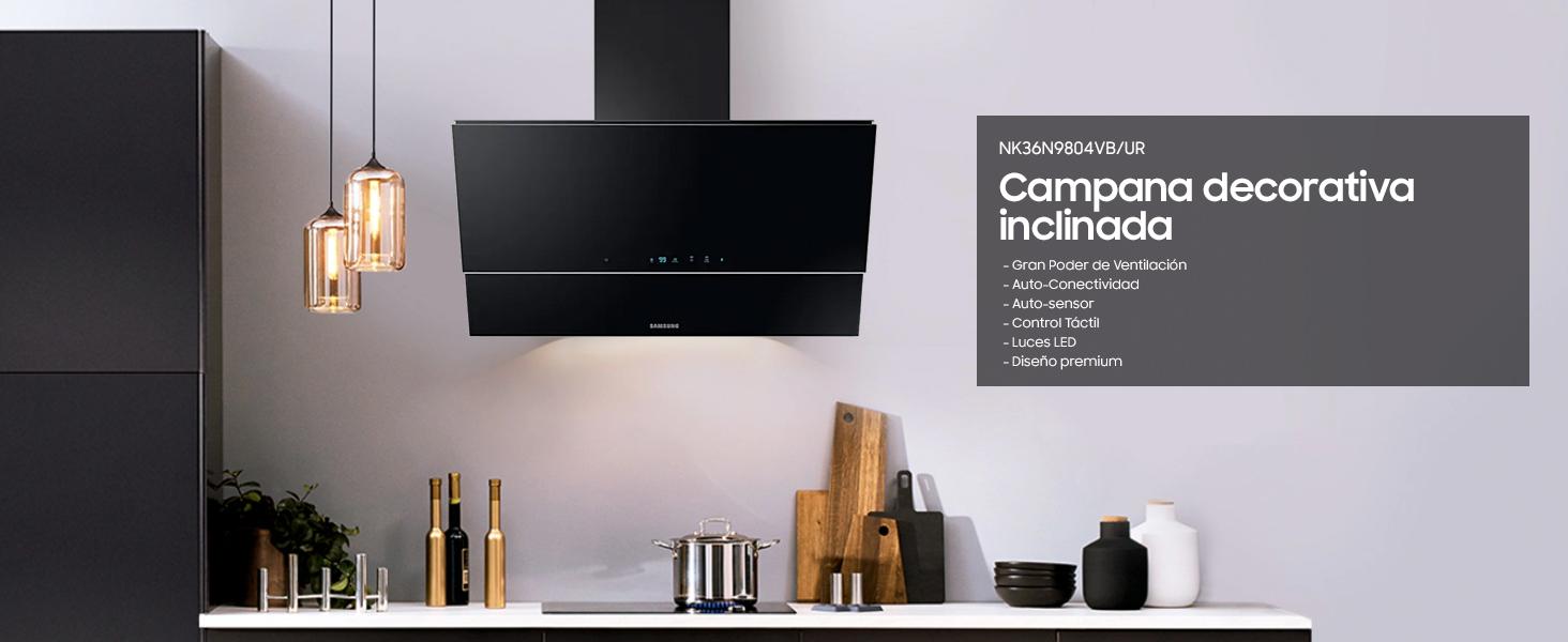 Samsung NK36N9804VB - Campana decorativa inclinada, ancho 90 cm, Touch Control, Sensor de Ventilación, Auto Conectividad con Bluetooth, negro: Amazon.es: Grandes electrodomésticos