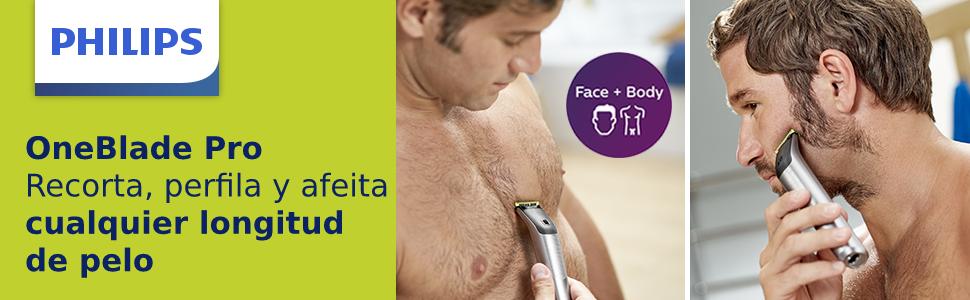 Philips QP6620/30 OneBlade Pro Cara y Cuerpo - Recortador de Barba Recargable con Peine-Guía para el Cuerpo, Peine de Precisión de 14 Longitudes, Base de Carga y Funda de Viaje: Amazon.es: Salud