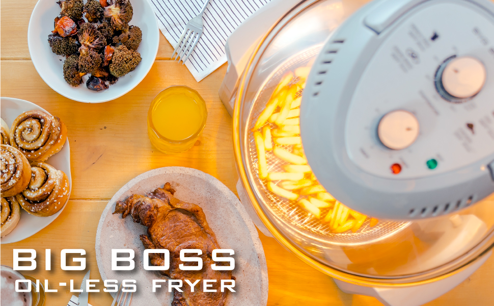 BIG BOSS OILESS FRYER, INFRARED HEAT, CONVECTION, HEALTHY LIFESTYLE, HEALTHY FRYING