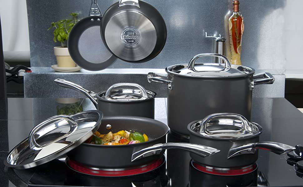 cookware, pots and pans, cookware set, nonstick cookware, hard anodized cookware