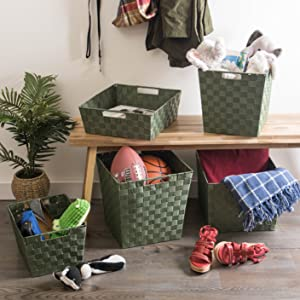 set tote shoe woven organization organizers table container inch organizing gray square hamper room