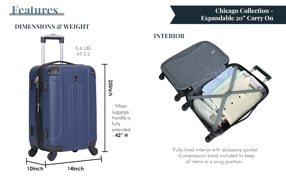 travelers club, carry-on, luggage, lightweight, 360 spinner, mobility, fashion, expandable, interior