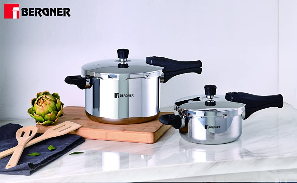Bergner Argent Elements Tri-ply Stainless Steel Unpressure Cooker With Outer Lid (2.5 Ltrs., Silver)