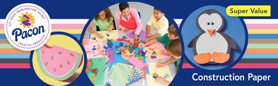 construction paper, pacon, assorted colors, teachers, kids, school, art projects, crafts, value