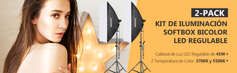 Neewer Kit Iluminación Softbox con LED Regulable Bicolor: Softbox Estudio 50x68cm Cabezal Luz LED Regulable 45W con 2 Temperaturas Color y Soporte Luz para Estudio Fotográfico Retratos: Amazon.es: Electrónica