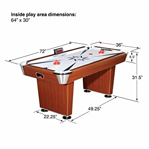 Air Hockey 6 Foot Game Table Cherry Wood Electronic Scoring Kids Adults  Families