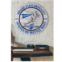 Indiana State Sycamores Throwback Weathered Circle Wall Art