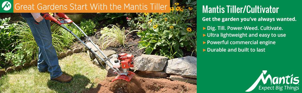 tiller, cultivator, mini tiller, mantis tiller, mantis, rototiller, small tiller