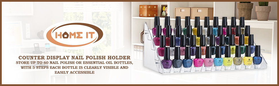 Amazon home it nail polish holder acrylic 5 step counter nail polish holder solutioingenieria Choice Image